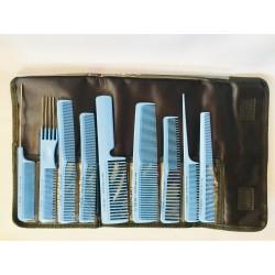 Fésű készlet 9 db-os + táska kék Eurostil 03928/99