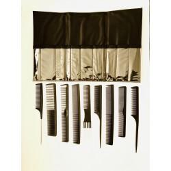Fésű készlet 9db-os+táska fekete K-254