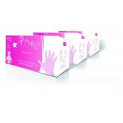 Festőkesztyű nitril púdermentes pink 100db (S)